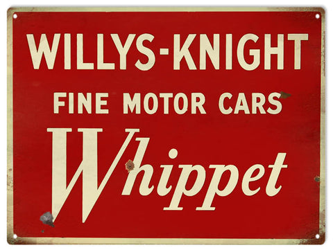 Vintage Willys Knight Motor Car Sign 9x12