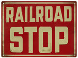 Vintage Railroad stop Sign 9x12