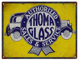 Vintage Thoma Glass Service Sign 9x12