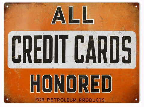 Vintage Credit Card Motor Oil Sign 9x12