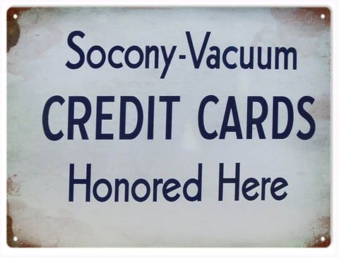 Vintage Socony Vacuum Credit Card Sign 9x12