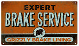 Vintage Grizzly Brake Service Sign 8x14