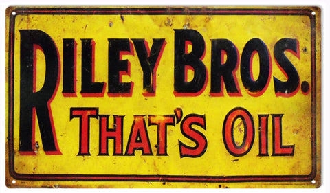 Vintage Riley Bros Motor Oil Sign 8x14