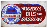 Vintage Waverly oil and Gasoline Sign 8x14