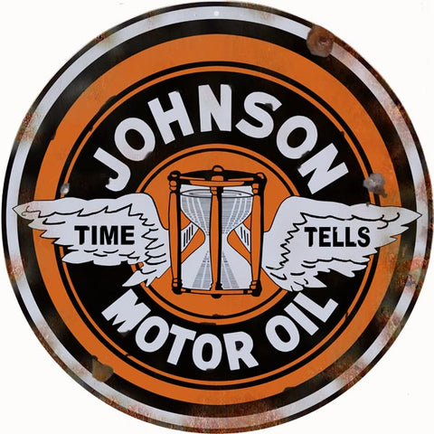 Vintage Johnson Motor Oil Sign 14 Round