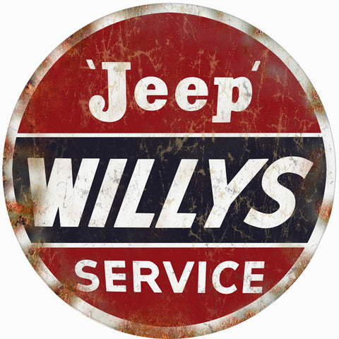 Vintage Willys Jeep Service Sign 14 Round