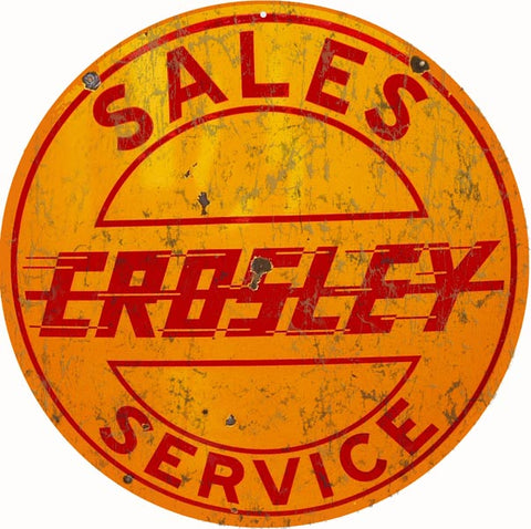 Vintage Crosley Sales Service Sign 14 Round