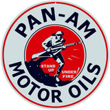 Pan Am Motor Oils Sign 14 Round