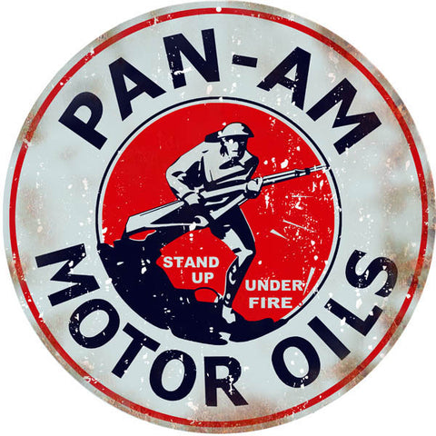 Vintage Pan Am Motor Oils Sign 18 Round