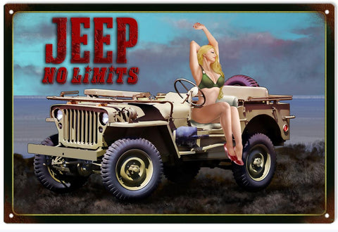 Vintage Jeep Pin Up Girl Sign