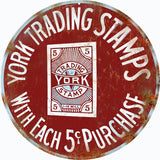 Vintage York Trading Stamps Sign 14 Round