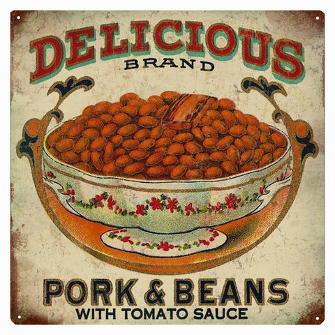 Vintage Pork And Beans Sign 12x12