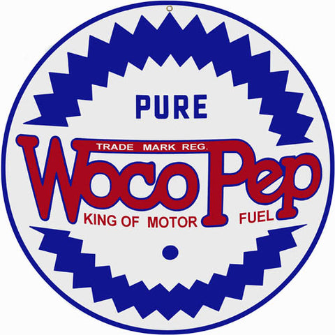 Woco Pep Motor Oil Sign 14 Round