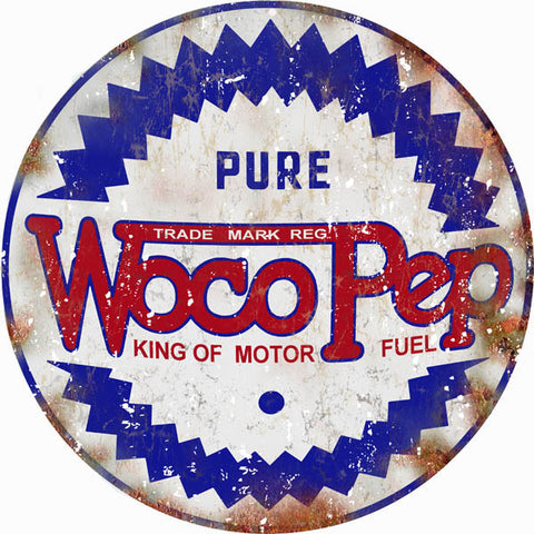 Vintage Woco Pep Motor Oil Sign 18 Round