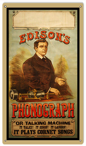 Vintage Edison Phonograph Sign 8x14