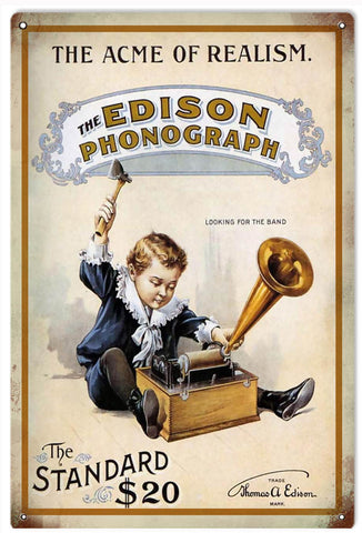 Vintage Edison Phonograph Sign