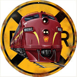 Vintage RPR Railroad Sign 14 Round