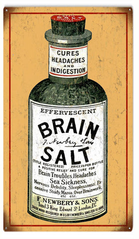 Vintage Brain Salt Sign 8x14