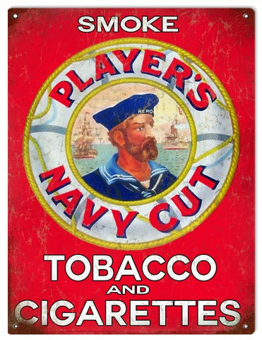 Vintage Players Navy Cut Tobacco Sign 9x12