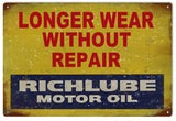 Vintage Richlube Motor Oil Sign