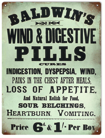 Vintage Baldwins Wind And Digestive Pills Sign 9x12