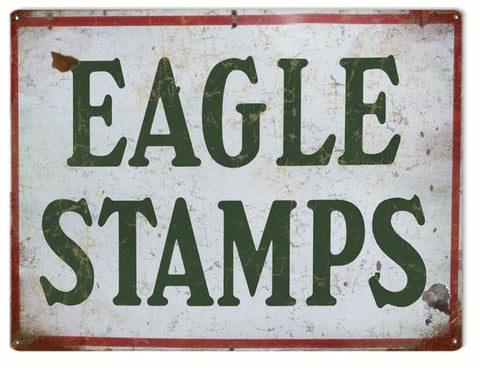 Vintage Eagle Stamps Sign 9x12