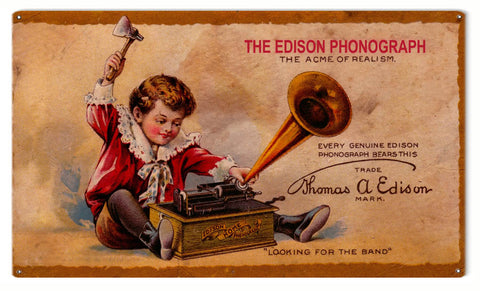 Vintage The Edison Phonograph Sign 8x14