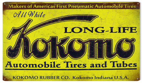 Vintage Kokomo Automobile Tire Sign 8x14