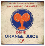 Vintage Orange Juice Sign 12x12