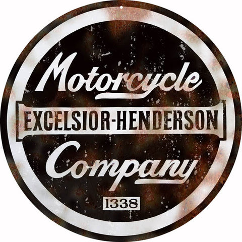 Vintage Excelsior Henderson Motorcycle Sign 14 Round