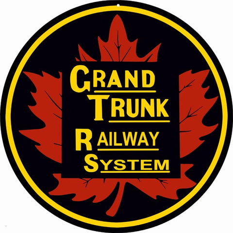 Grand Trunk Railroad Sign 14 Round