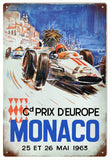 Vintage Grand Prix Monaco Automobile Sign
