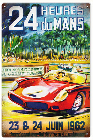 Vintage Heures Du Mans Automobile Sign