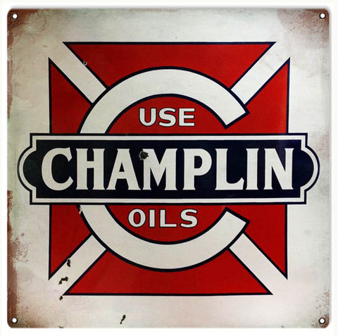 Vintage Champlin Oils Sign 12x12