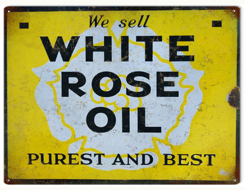 Vintage White Rose Oil Sign 9x12