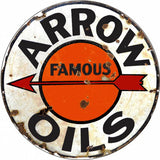 Vintage Arrow Oils Sign 14 Round