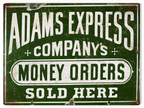Vintage Adams Express Money Orders Sign 9x12