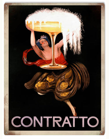 Vintage Contratto Sparkling Wine Sign 9x12