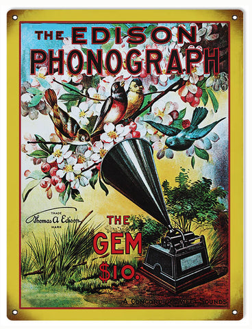 Vintage Edison Phonograph Sign 9x12