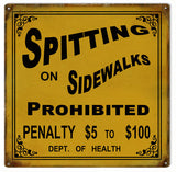Vintage Spitting On Sidewalk Prohibited Sign 12x12