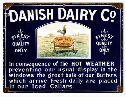 Vintage Danish Dairy Co. Sign 9x12