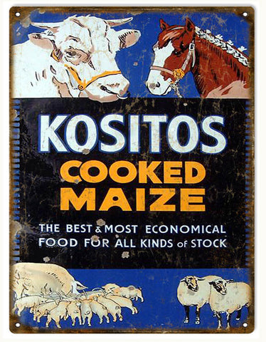 Vintage Kositos Stock Food Sign 9x12