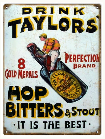 Vintage Taylors Hop And Stout Beer Sign 9x12