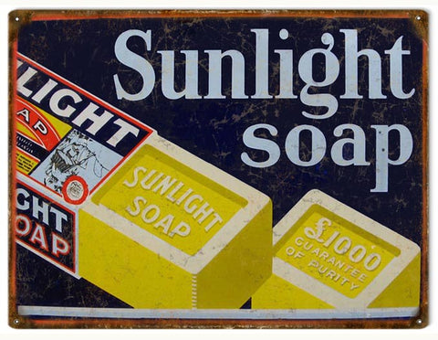 Vintage Sunlight Soap Sign 9x12