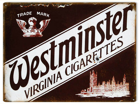 Vintage Westminster Cigarettes Sign 9x12