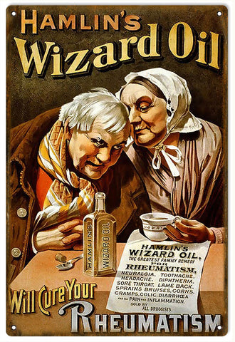 Vintage Hamlins Wizard Oil Sign