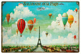 Vintage Ballooning Over Paris Sign