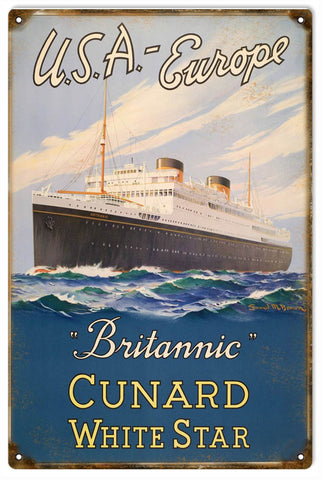 Vintage Britannic Cruise Ship Sign