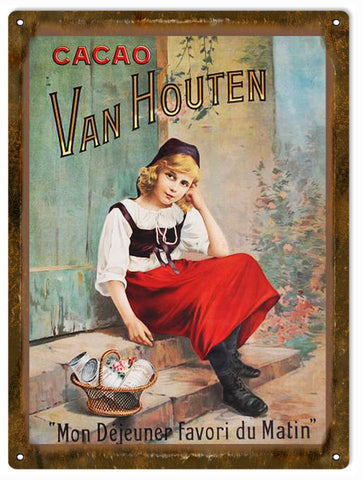 Vintage Van Houten Chocolate Sign 9x12