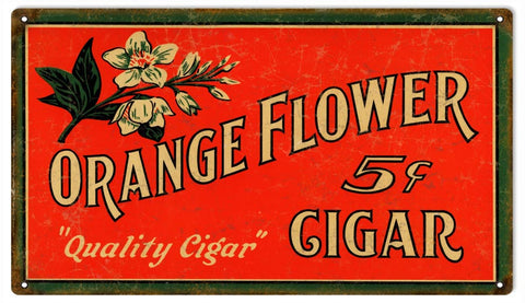 Vintage Orange Flower Cigar Sign 8x14